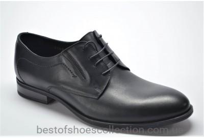 Мужские классические кожаные туфли матовые черные IKOS 20621