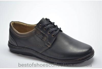 Мужские комфортные кожаные туфли черные Mateos 898