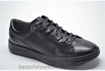Мужские демисезонные спортивные кожаные туфли черные IKOS 17251