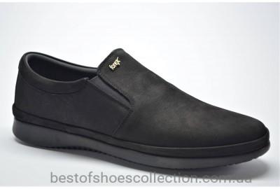 Мужские нубуковые туфли мокасины черные Forex anatomic 2961
