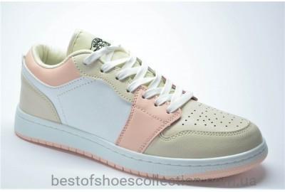 Женские спортивные туфли кеды бежевые с белым и розовым 905917