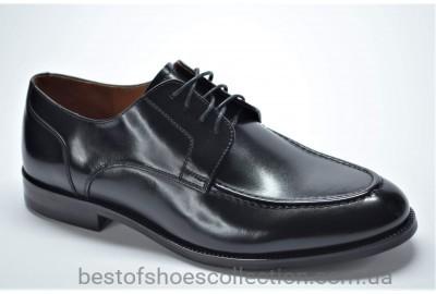 Мужские кожаные туфли лоферы на шнурке черные Marriotti 086