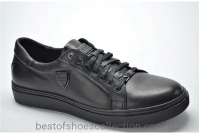Мужские спортивные туфли кожаные кеды черные Extrem 532