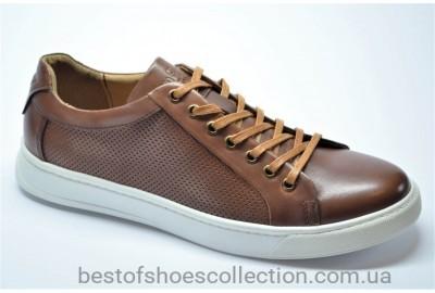 Мужские спортивные туфли кожаные кеды рыжие Cevivo 5205