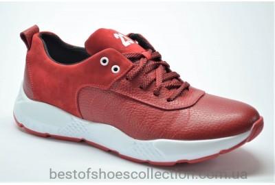 Мужские кожаные кроссовки красные Extrem 1028/112 - 16
