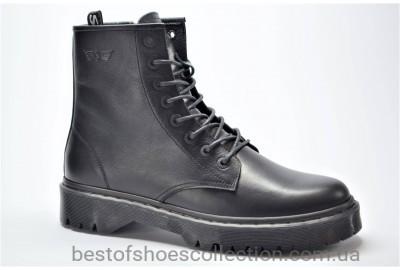 Мужские демисезонные кожаные ботинки черные Safari 5030101