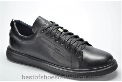 Мужские кожаные спортивные туфли великаны черные Vivaro 5566