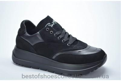 Женские стильные кожаные кроссовки черные Best Vak 1021201