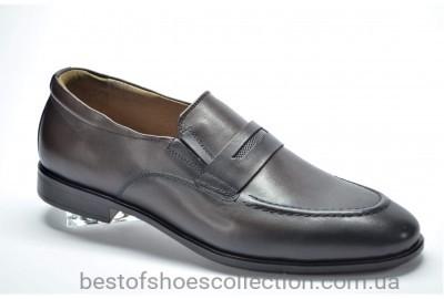 Мужские кожаные туфли лоферы коричневые Cevivo 417