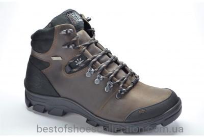 Мужские зимние кожаные ботинки коричневые Shark 153/2