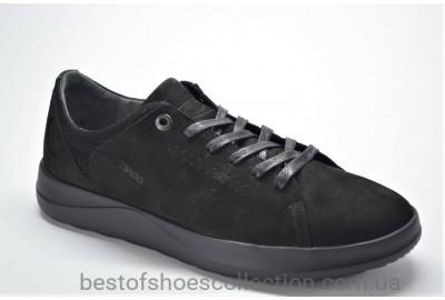 Мужские демисезонные спортивные нубуковые туфли черные IKOS 17081