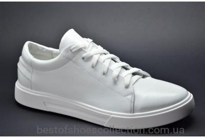 Мужские спортивные туфли кожаные кеды белые Rivest Кб.