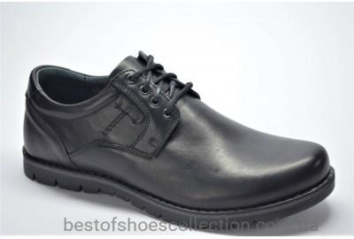 Мужские демисезонные кожаные туфли черные Riko 761