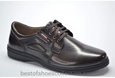 Мужские комфортные кожаные туфли коричневые Krastfor 008901