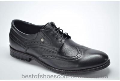 Мужские кожаные туфли броги великаны черные Vivaro 611