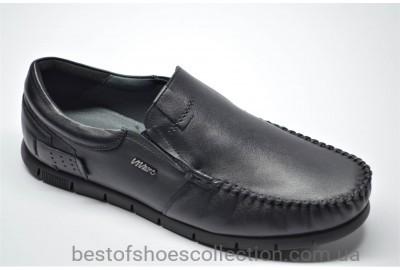 Мужские комфортные кожаные туфли мокасины черные Vivaro 125