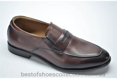 Мужские кожаные туфли лоферы рыжие Cevivo 417