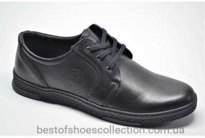 Мужские комфортные кожаные туфли черные Joker 322/2