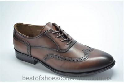 Мужские кожаные туфли броги рыжие Cevivo 4923