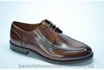 Мужские кожаные туфли лоферы на шнурке рыжие Marriotti 086
