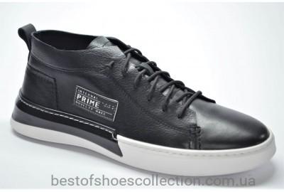 Мужские демисезонные кожаные кеды черные с белым Rondo 381