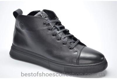 Мужские демисезонные кожаные кеды черные KaDar 3940644
