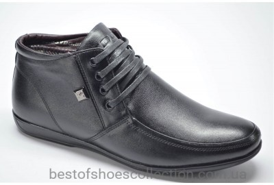 Мужские комфортные демисезонные кожаные ботинки черные YDG 527