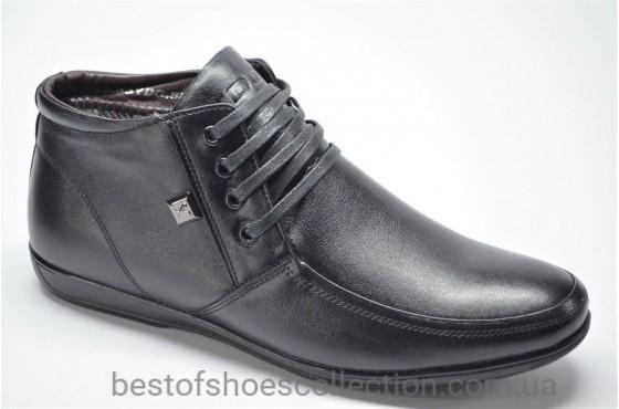 Мужские демисезонные кожаные ботинки черные YDG 527