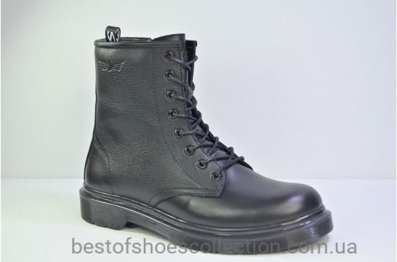 Женские зимние кожаные ботинки черные Safari 37101