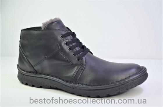 Мужские зимние кожаные ботинки великаны черные Kacper 3 - 0836