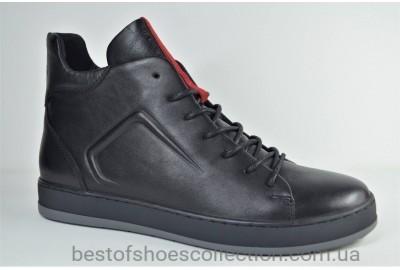 Мужские зимние кожаные ботинки черные с серым и красным Safari 44100