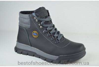 Подростковые зимние кожаные ботинки черные с серым Sky town 401