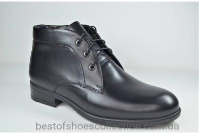 Мужские зимние кожаные ботинки сапоги черные IKOC 3726 - 1