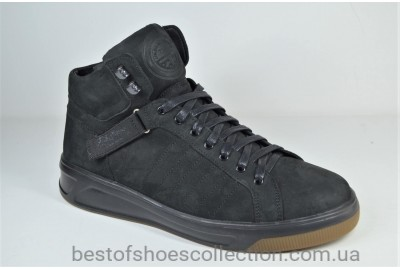 Мужские зимние нубуковые ботинки кеды черные Trike 7071