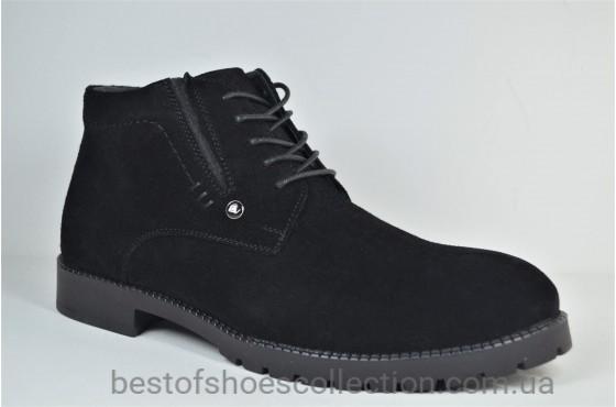 Мужские зимние замшевые ботинки сапоги черные Cevivo 9100