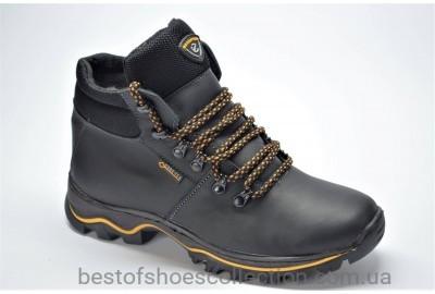 Подростковые спортивные зимние кожаные ботинки черные E 1