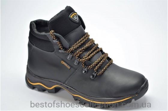 Подростковые зимние кожаные ботинки черные E 1