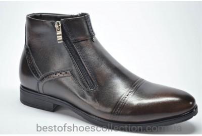 Мужские зимние кожаные ботинки сапоги коричневые Nord 525